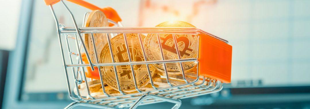 Bitcoin im einkaufswagen