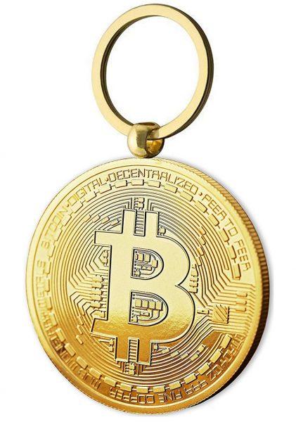 Bitcoin Schlüsselanhänger vergoldet