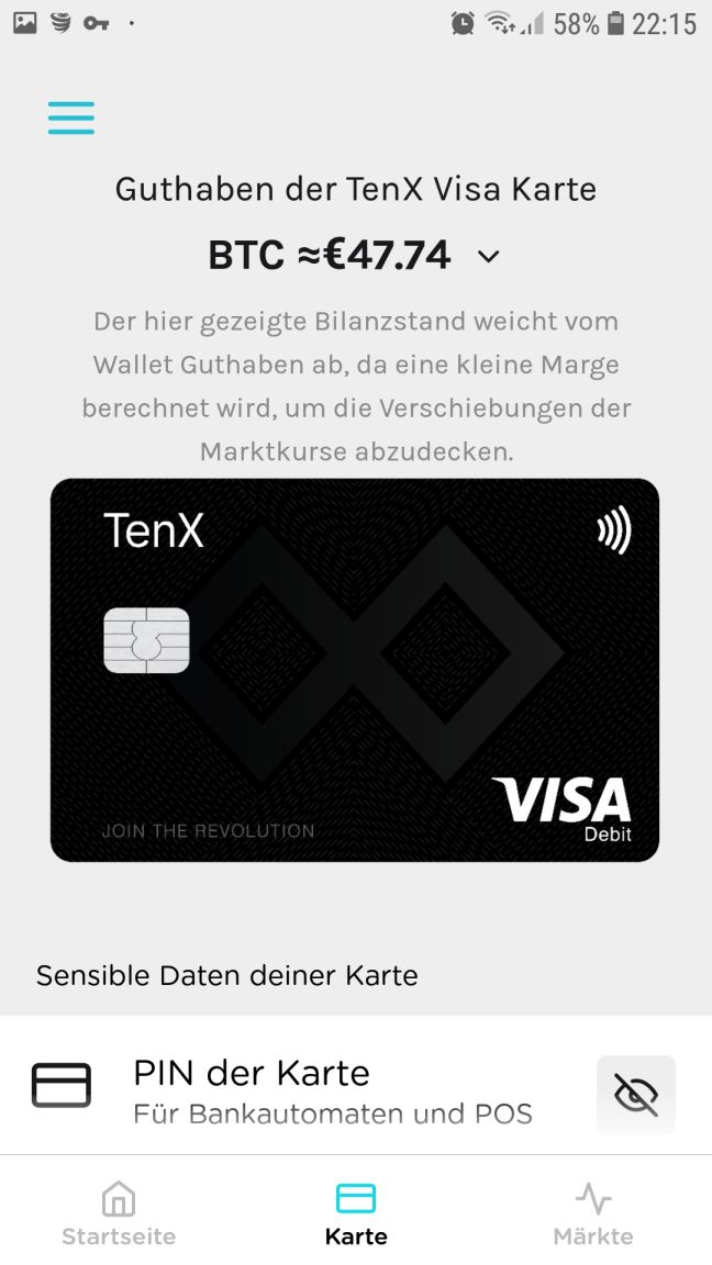 TenX Visacard